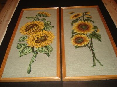 PAIR of VINTAGE Hand Stitched SUNFLOWER TAPESTRY PICTURES in Matching Frames VGC