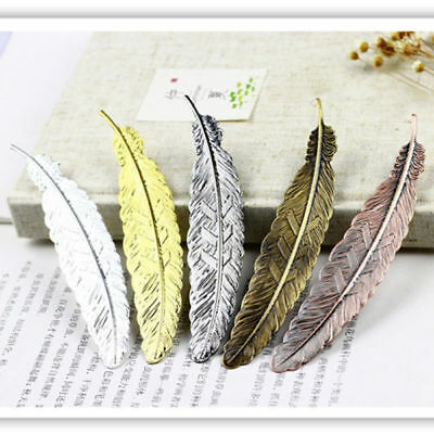 Antique Plated Metal Hollow Animal Feather Bookmark Book Paper Reading HS