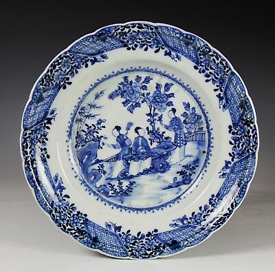 Unusual Large Antique Chinese Blue And White Porcelain Round Serving Plate