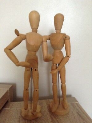 """Artists Wooden Manikins Unisex With Movable Limbs Height 12"""""""