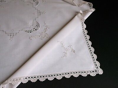 VINTAGE HAND CROCHET AND EMBROIDERED CREAM COTTON TABLE CLOTH 86 x 82cms