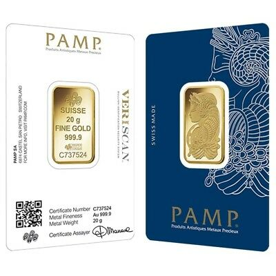 Lot of 2 - 20 gram Gold Bar PAMP Suisse Lady Fortuna Veriscan (In Assay)