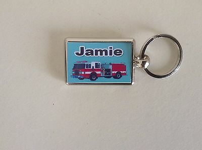 Personalised Silver Plated Keyring  -  Fire Engine  Design