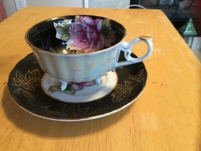 VINTAGE L M ROYAL HALSEY Rose GOLD TRIM FOOTED TEA CUP/SAUCER VERY FINE CHINA