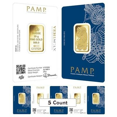 Lot of 5 - 20 gram Gold Bar PAMP Suisse Lady Fortuna Veriscan (In Assay)