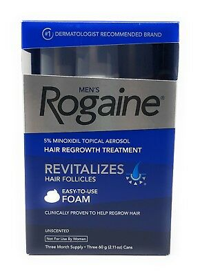 Rogaine Men's 5% Minoxidil Hair Regrowth Treatment Foam - 3 Months Supply - NEW!