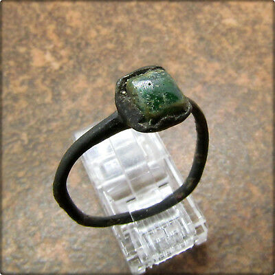 Ancient Bronze Roman Ring ( Green Gem Stone )