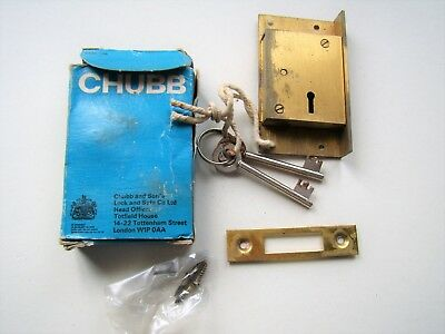 CHUBB cast brass cut cupboard cabinet lock, right hand, new boxed/old stock CHB5