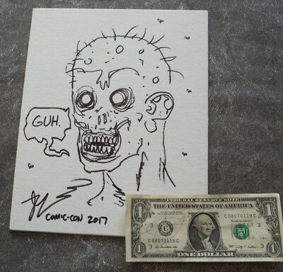 Robert Kirkman Signed Sketch Of The Walking Dead Original Art On Canvas