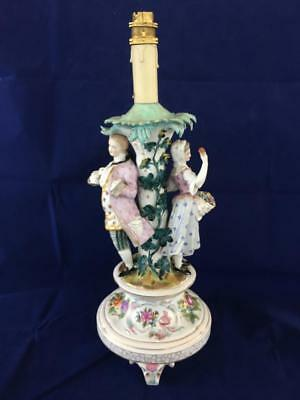 Fine Antique Dresden Carl Thieme Porcelain Lamp Base / Centrepiece. #2 C1880