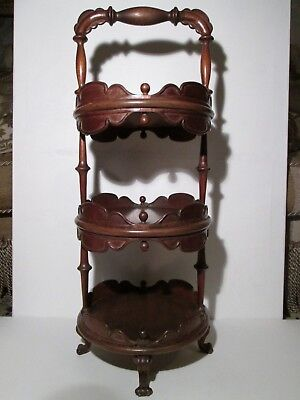 Antique Carved and Turned Mahogany Three Tier Cake Stand on Claw Feet