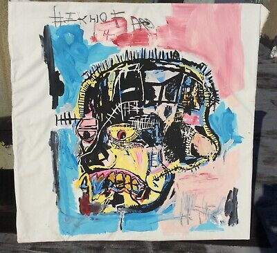 Large Basquiat Reproduction Skull Painting 48x48 Actual Real Painting on Canvas