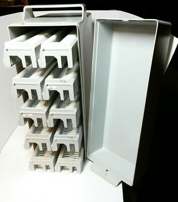 SLIDE MAGAZINE STORAGE BOX AND 10 MAGAZINES – Holds 500 35mm Mounted Slides