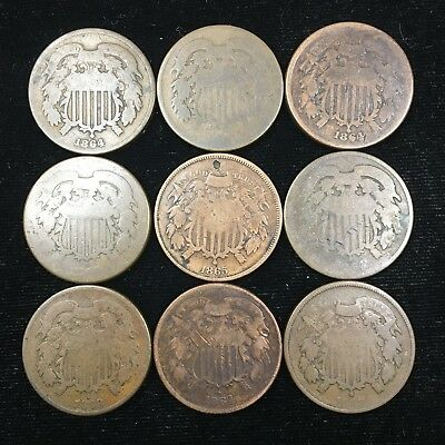 Lot Of 9 - 2 Cent / Two Cent Coins