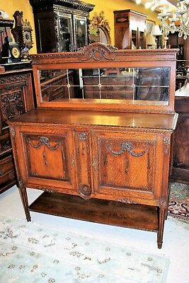 French Antique Oak Louis XVI Sideboard Cabinet Small Buffet Server with Mirror