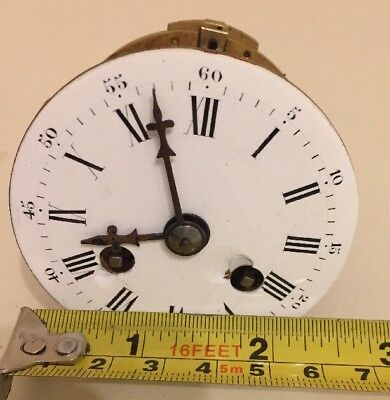 RARE Miniature FRENCH STRIKING CLOCK MOVEMENT CERAMIC DIAL LEVER PLATFORM