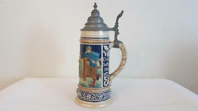 "Vintage Numbered Hand Painted Lidded Ceramic Beer Stein Germany 11"" Tall"