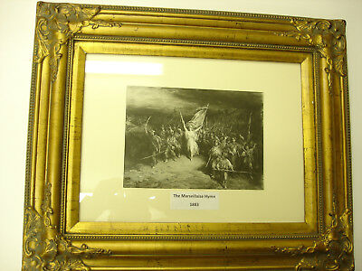 Rare Old ANTIQUE 1883 ART PRINT IN GOLD WOOD Frame THE MARSEILLAISE HYMN LOOK