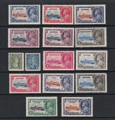 Selection Of Mint King George V Silver Jubilee Stamps Including Bermuda 1/-