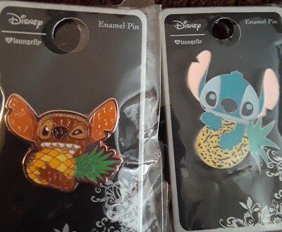 Stitch Hawaii Tiki Eating & Cute Cutie Holding A Pineapple Loungefly Disney Pins