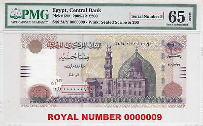Egypt 200 pound 2009 ROYAL S.N. 00000009 OKDA sign. pick#69a PMG UNC 65 EPQ