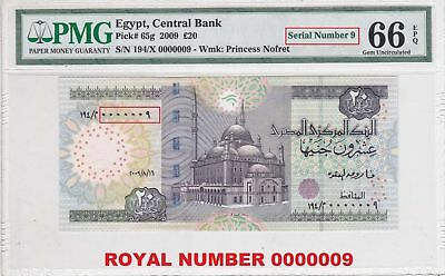 Egypt 20 pound 2009 ROYAL S.N. 00000009 OKDA sign. p#65g PMG UNC 66 EPQ