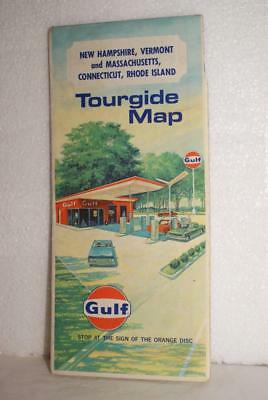 Vintage 1960's Gulf Oil Co. Tourgide Road Map NH VT MA CT RI Nice Condition!