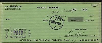 DAVID JANSSEN Hand Signed Autographed Check Dated 7-30-73 w/COA - THE FUGITIVE