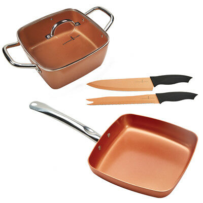 Copper Chef XL Casserole and Fry Pan Set with 2 PC Copper Chef Knives