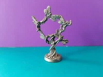 Collectible Vintage Pewter Fairies in a Tree Miniature