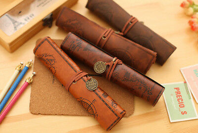 Vintage Cosmetic Make-up Case Holder Brush Roll up Pouch  Bag Pencil Pen Wrap