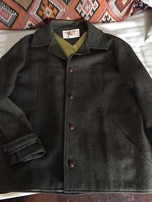 Vintage Filson Green Wool Sports Jacket. 50's. Lined, Leather Buttons. Size 44.