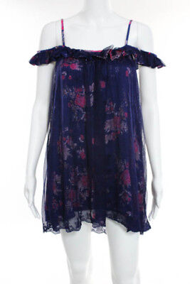 Intimately Free People Blue Pink Floral Printed Ruffle Teddy Size Extra Small