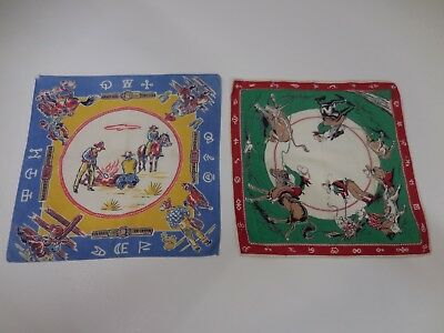 Lot of 2 Vintage Cowboy Western Handkerchiefs Western Design Framing Crafting