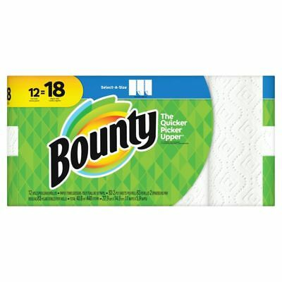 """Bounty Select-A-Size 2-Ply Paper Towels, 11"""" x 5 15/16"""", White, 12 Giant Rolls"""