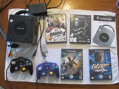 Black Nintendo Gamecube Console With 4 Games Tested Working Resident Evil