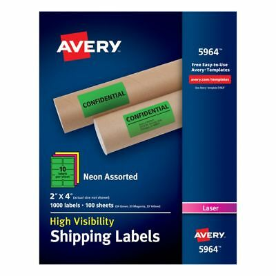 """Avery High-Visibility Shipping Labels, AVE5964, 2"""" x 4"""", Assorted Colors, 1000Pk"""