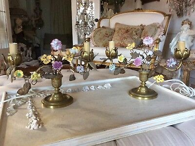 OMG PAIR Antique Vtg Porcelain Rose Lamps Flowers Tole Metal French PINK YELLOW