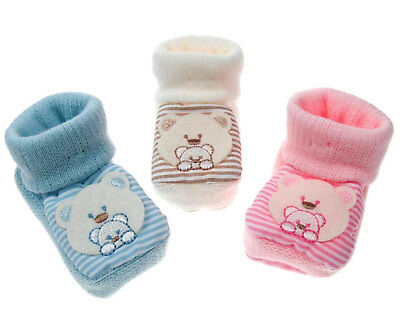 Baby Boys Girls 1 Pair Teddy Bear Booties New Born To 3 Months Approx S418