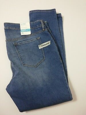 NWT Old Navy Sz 14 Maternity Boyfriend Skinny Distressed Ripped Jeans Inseam 30""