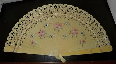 Vintage Lucite or Celluloid Hand Fan Painted Floral