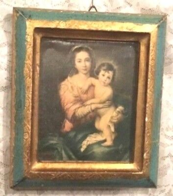 Florentia Italy Florentine Madonna And Child Small Wood Plaque Picture