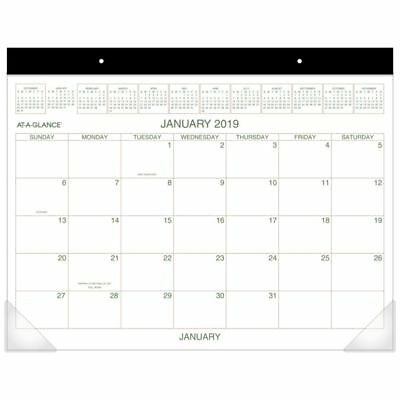 """AT-A-GLANCE® 2-Color Monthly Desk Pad Calendar, 21 3/4"""" x 17"""", January to Decemb"""