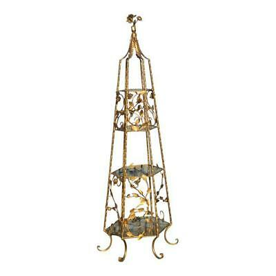 Vintage French Provincial Italian Gold Gilt Tole Roses 4 Tier Etagere Display