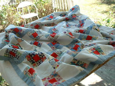 """Handmade country look Baby Quilt Coverlet Blanket 36"""" by 42""""  blue & white theme"""