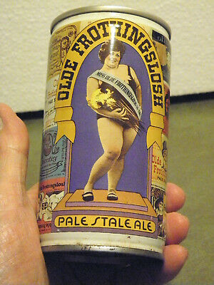 Vintage Olde Frothingslosh Pale Stale Ale Beauty Queen Yellow Steel Beer Can