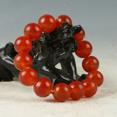 Chinese Hand-carved Natural Jade Bead Bracelet