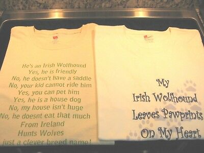 Irish Wolfhound T-Shirts Lot of 2~ 2X ~ Leave Pawprints On Heart & IW Questions