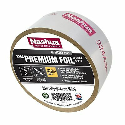 Nashua Duct Tape Foil Air Professional 4.8 Mil 60 Yd Aluminum Meets Ul 181 Silver