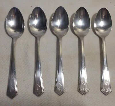 "Oxford Silverplate Dessert Spoons 5 Pcs. Aurora Pattern, 6"" long, Good Condition"